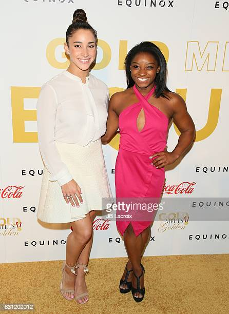 Aly Raisman and Simone Biles attend the Gold Meets Golden event on January 7 2017 in Los Angeles California