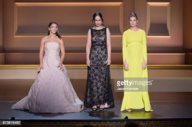 Aly Raisman Anna Cardenas and Cameron Russell speak onstage at Glamour's 2017 Women of The Year Awards at Kings Theatre on November 13 2017 in...