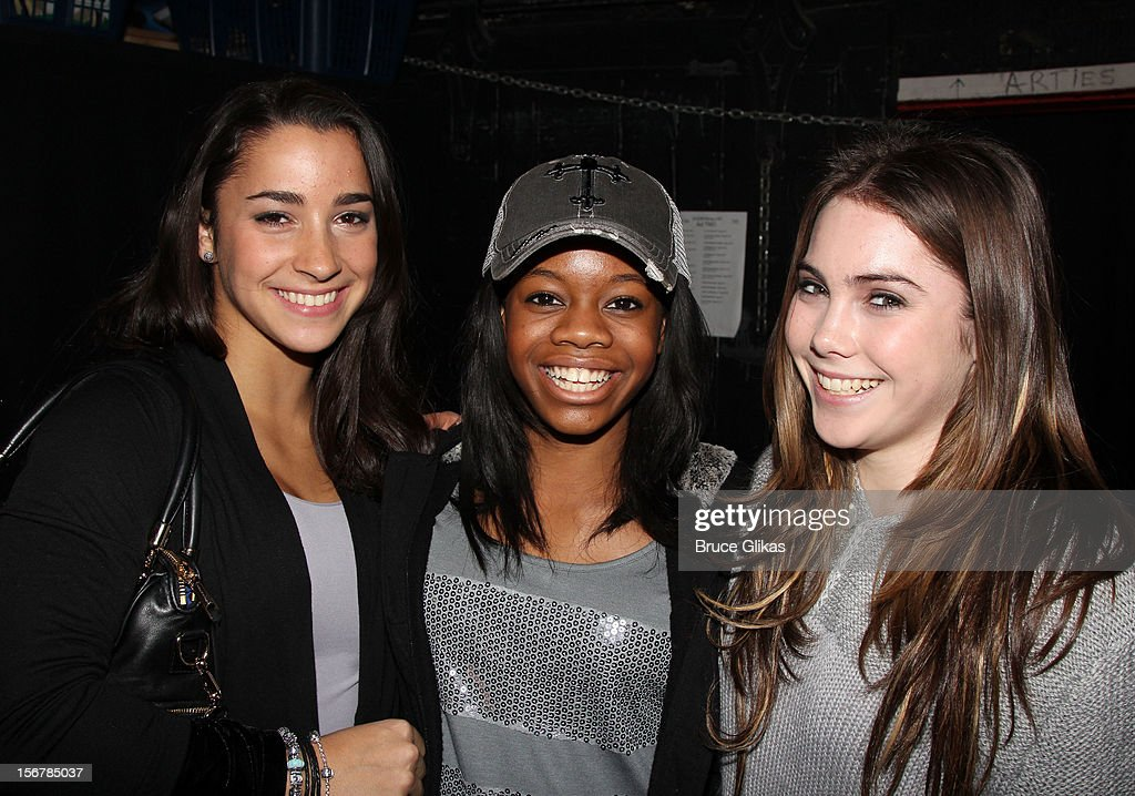 Aly Raisman, <a gi-track='captionPersonalityLinkClicked' href=/galleries/search?phrase=Gabby+Douglas&family=editorial&specificpeople=8465211 ng-click='$event.stopPropagation()'>Gabby Douglas</a> and <a gi-track='captionPersonalityLinkClicked' href=/galleries/search?phrase=McKayla+Maroney&family=editorial&specificpeople=7138673 ng-click='$event.stopPropagation()'>McKayla Maroney</a> pose backstage at the hit musical 'Bring It On' on Broadway at The St. James Theater on November 20, 2012 in New York City.