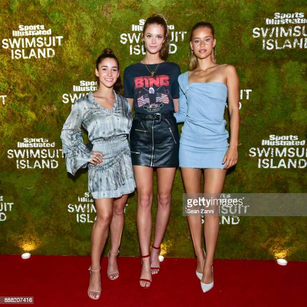 Aly Raisman Kate Bock and Chase Carter attend the Sports Illustrated Sneak Peek of its SI Swimsuit Island during Art Basel at The W Hotel South Beach...