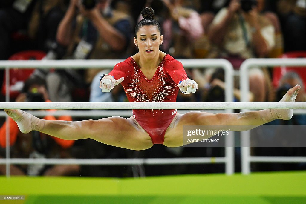 Aly Raisman of the United States performs on the uneven bars during the women's individual allaround at Rio 2016 on Thursday August 11 2016 Raisman...
