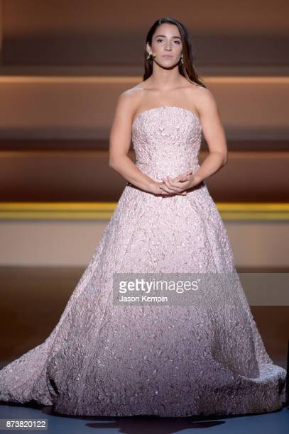 Aly Raisman speaks onstage at Glamour's 2017 Women of The Year Awards at Kings Theatre on November 13 2017 in Brooklyn New York