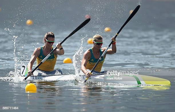 Alyce Burnett and Alyssa Bull of Australia compete in the Canoe Sprint Women's Kayak Double 500m Semifinal 1 on Day 10 of the Rio 2016 Olympic Games...