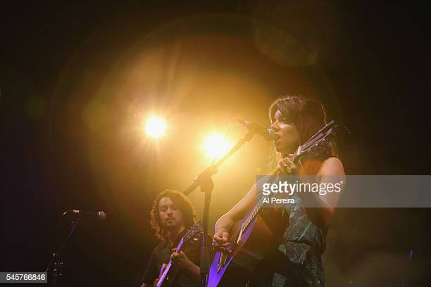 Alynda Lee Segarra and Hurray For The Riff Raff perform in the rain as part of Celebrate Brooklyn at Prospect Park Bandshell on July 9 2016 in New...
