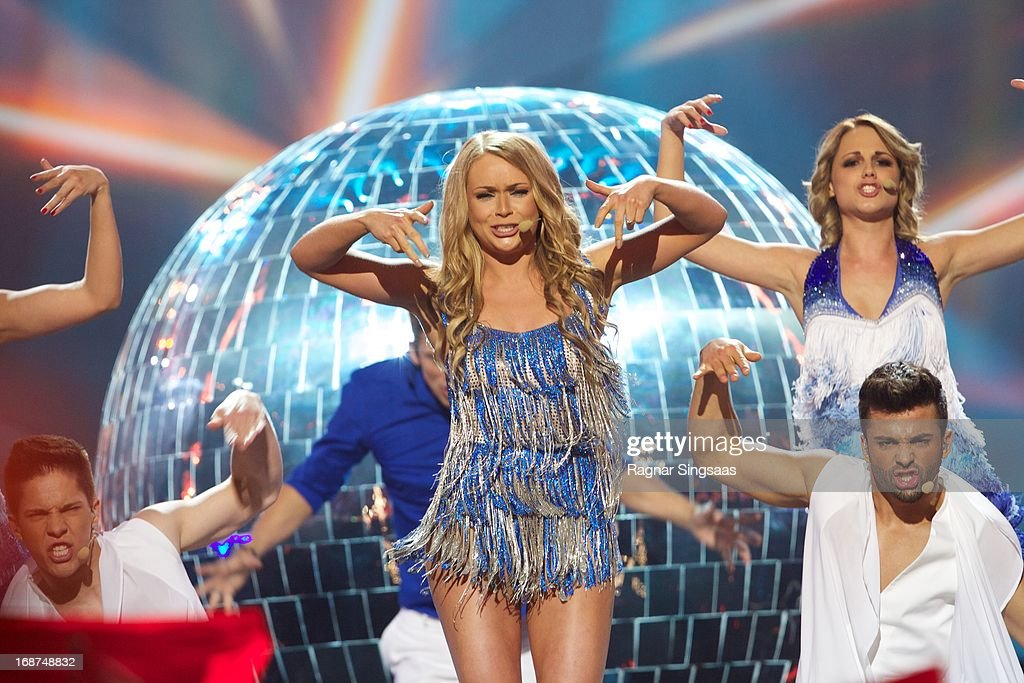 Alyona Lanskaya of Belarus performs on stage during the first semi final of the Eurovision Song Contest 2013 at Malmo Arena on May 14, 2013 in Malmo, Sweden.