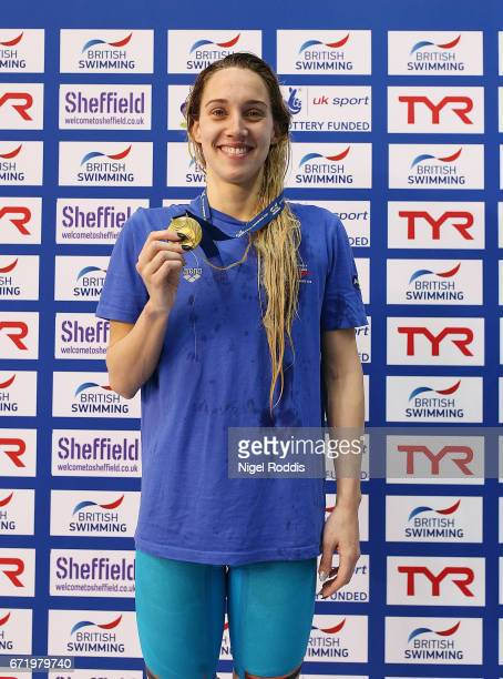 Alys Thomas of Swansea Aq poses with her medal after winning the Womens Open 100m Butterfly Final on day six of the 2017 British Swimming...