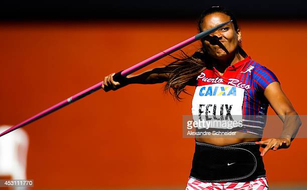 Alysbeth Felix of Puerto Rico competes in the Womens Javelin part of Eptathlon at Ibirapuera Stadium during day three of the Ibero Americanos Caixa...