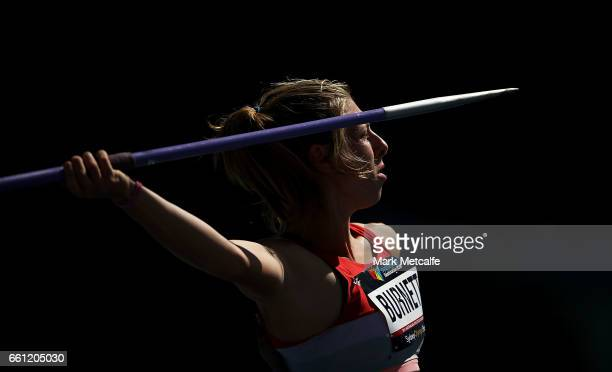 Alysha Burnett of NSW competes in the womens open heptathlon javelin during day six of the Australian Athletics Championships at Sydney Olympic Park...