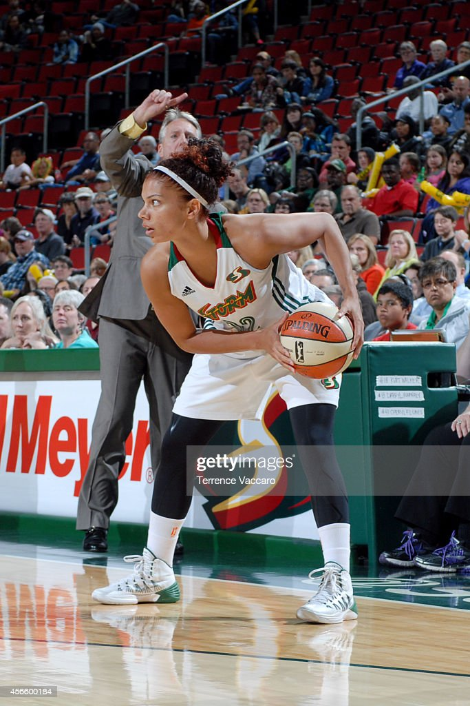 Alysha Clark #32 of the Seattle Storm handles the ball against the New York Liberty on July 24,2014 at Key Arena in Seattle, Washington.