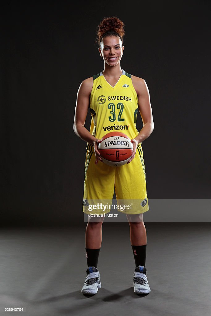 Alysha Clark #32 of the Seattle Storm poses for a photo during media day at Key Arena in Seattle, Washington May 05, 2016.