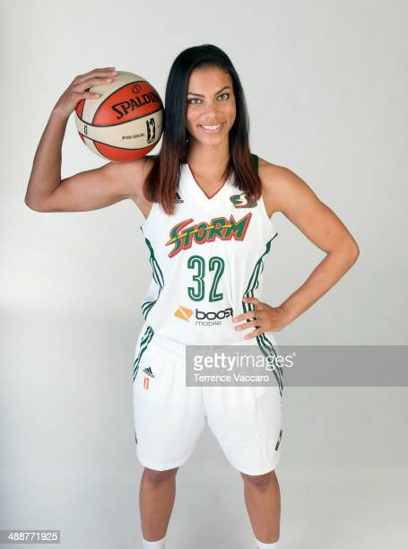 Alysha Clark of the Seattle Storm poses for a photo during WNBA Media Day on May 7 2014 at Key Arena in Seattle Washington NOTE TO USER User...