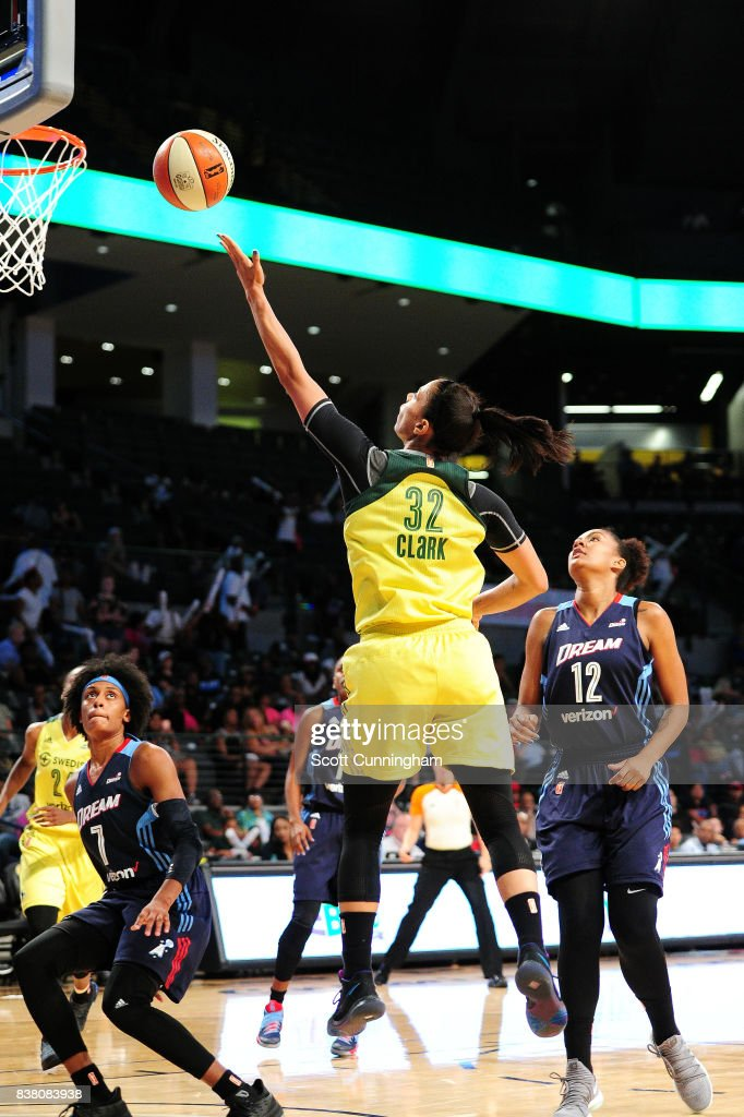 Alysha Clark #32 of the Seattle Storm shoots a lay up during the game against the Atlanta Dream during a WNBA game on August 23, 2017 at Hank McCamish Pavilion in Atlanta, Georgia.