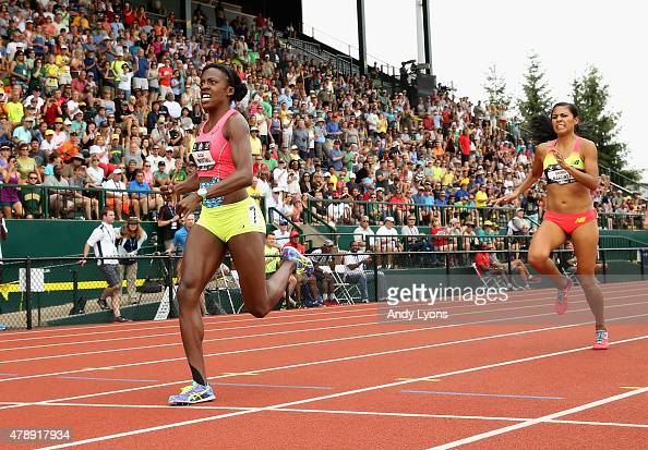 Alysia Montano runs to victory in the Womens 800 Meter during day four of the 2015 USA Outdoor Track Field Championships at Hayward Field on June 28...