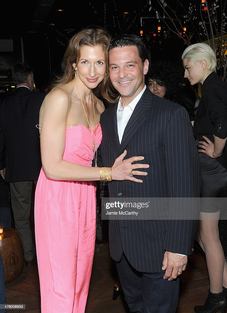 Alysia Reiner and David Alan Basche attend DreamWorks Picture' 'Need For Speed' screening hosted by The Cinema Society and Bushmill's after party at Jimmy At The James Hotel on March 11, 2014 in New York City.