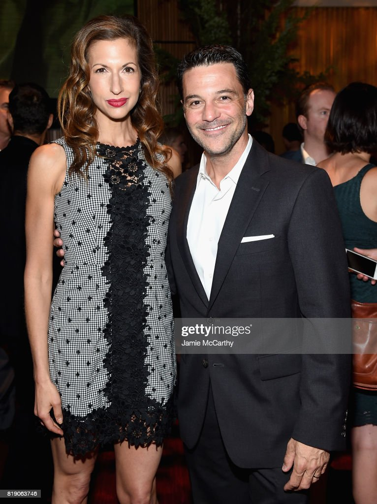 Alysia Reiner and David Alan Basche attend the Discovery's 'Manhunt: Unabomber' World Premiere at the Appel Room at Jazz at Lincoln Center Frederick P. Rose Hall on July 19, 2017 in New York Cit