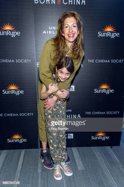 Alysia Reiner and Livia Basche attend Disneynature with the Cinema Society host the premiere of 'Born in China' at Landmark Sunshine Cinema on April...