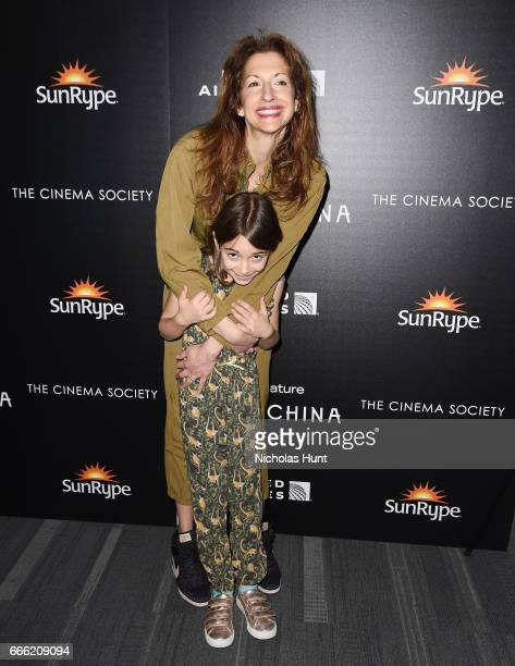 Alysia Reiner and Livia Basche attends the Disneynature With The Cinema Society Host The Premiere Of 'Born In China' at Landmark Sunshine Cinema on...