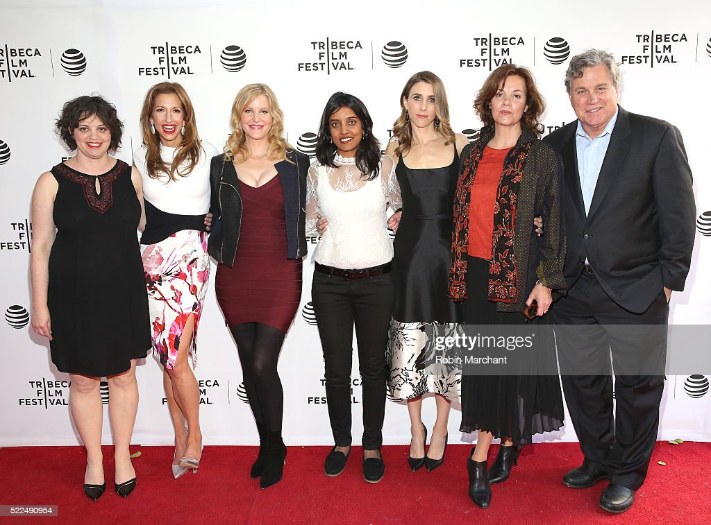 Alysia Reiner Anna Gunn Meera Menon and Sarah Megan Thomas Margaret Colin and Tom Bernard attend Tribeca Talks After The Movie Equity at SVA Theatre...