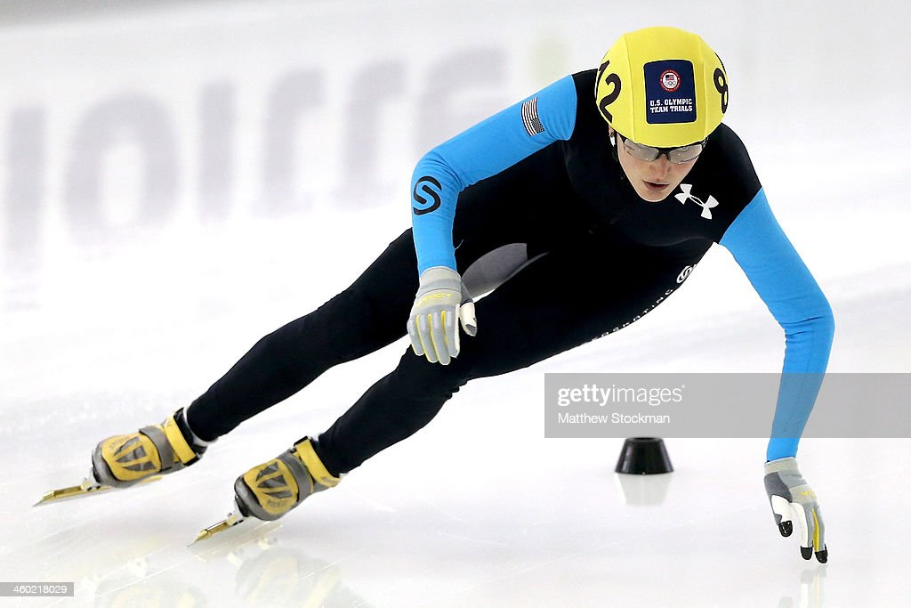 <a gi-track='captionPersonalityLinkClicked' href=/galleries/search?phrase=Alyson+Dudek&family=editorial&specificpeople=5581264 ng-click='$event.stopPropagation()'>Alyson Dudek</a> #812 competes in the ladies 444 meter time trial during the U.S. Olympic Short Track Trials at the Utah Olympic Oval on January 2, 2014 in Salt Lake City, Utah.
