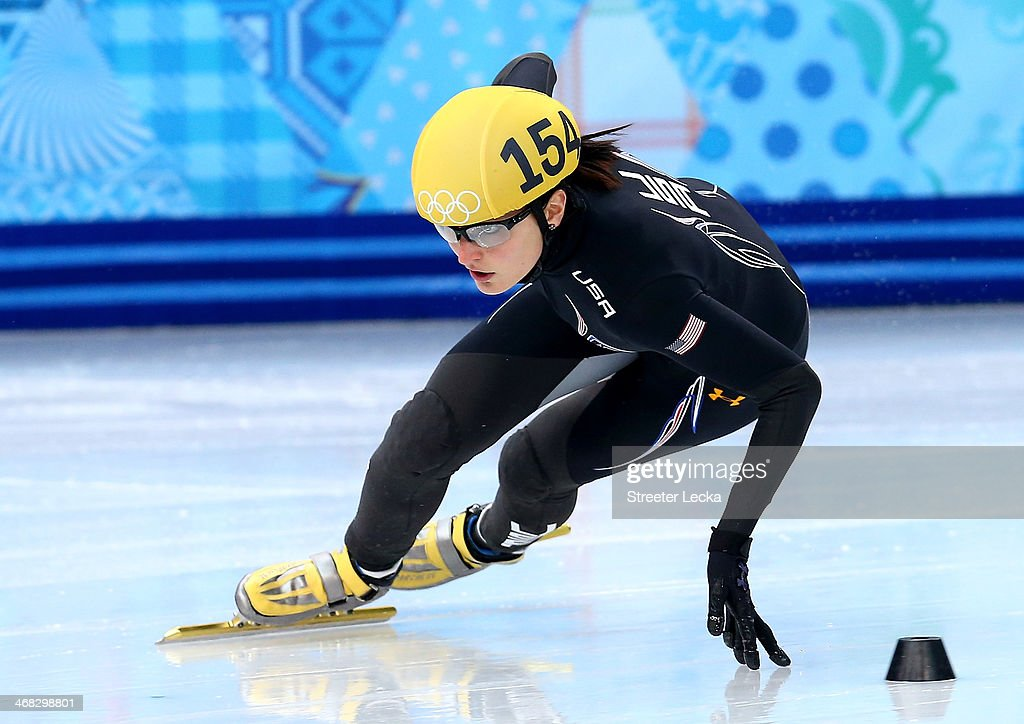 <a gi-track='captionPersonalityLinkClicked' href=/galleries/search?phrase=Alyson+Dudek&family=editorial&specificpeople=5581264 ng-click='$event.stopPropagation()'>Alyson Dudek</a> of the United States competes in the Short Track Speed Skating Ladies' 500m heats on day 3 of the Sochi 2014 Winter Olympics at Iceberg Skating Palace on February 10, 2014 in Sochi, Russia.