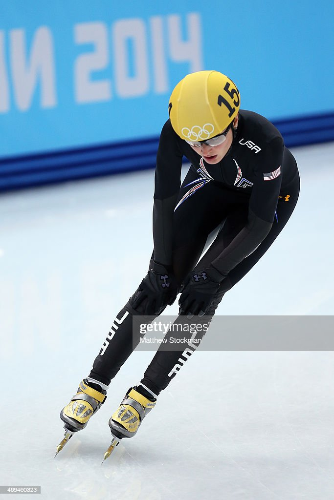 <a gi-track='captionPersonalityLinkClicked' href=/galleries/search?phrase=Alyson+Dudek&family=editorial&specificpeople=5581264 ng-click='$event.stopPropagation()'>Alyson Dudek</a> of the United States skates during the Ladies' 1500m Short Track Speed Skating heats on day 8 of the Sochi 2014 Winter Olympics at the Iceberg Skating Palace on February 15, 2014 in Sochi, Russia.