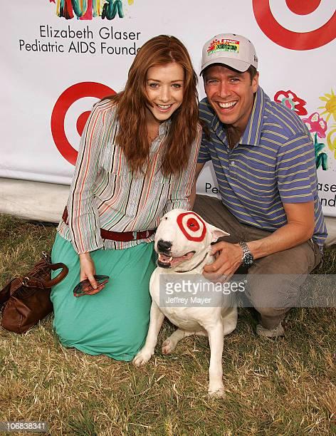 Alyson Hannigan Alexis Denisof and Bullseye the dog