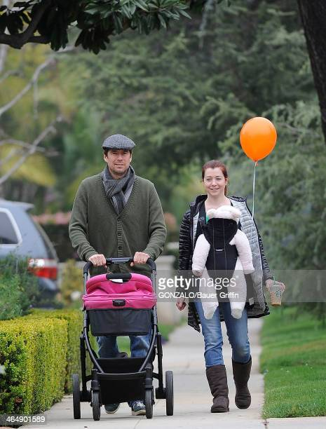 Alyson Hannigan and her husband Alexis Denisof are seen with their daughter Keeva Denisof on March 17 2013 in Los Angeles California