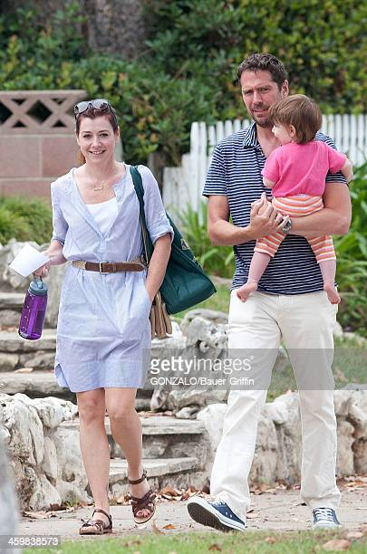 Alyson Hannigan and husband Alexis Denisof and daughter Keeva Jane Denisof sighting on September 09 2013 in Los Angeles California