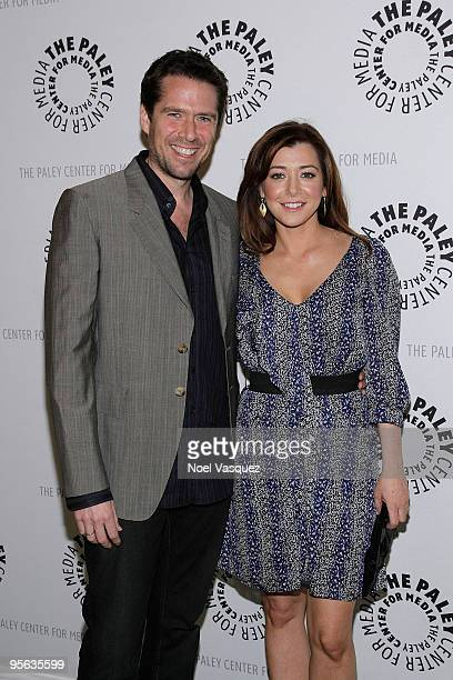 Alyson Hannigan and husband Alexis Denisof attend the 'How I Met Your Mother' 100th episode party at The Paley Center for Media on January 7 2010 in...