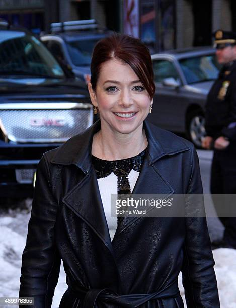 Alyson Hannigan arrives for the 'Late Show with David Letterman' at Ed Sullivan Theater on February 17 2014 in New York City