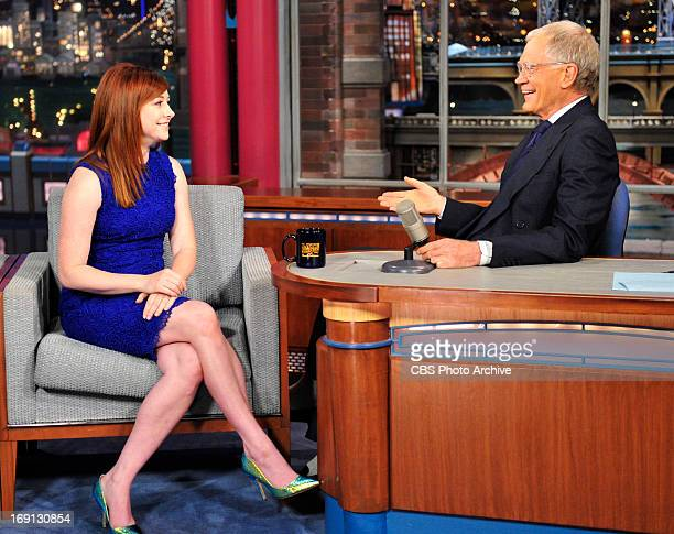 Alyson Hannigan of the CBS show 'How I Met Your Mother' talks with Late Show host David Letterman about the season finale during Wednesday's 5/8...