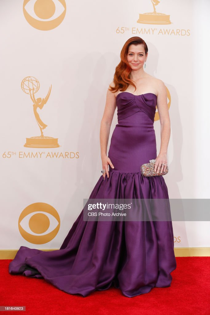 <a gi-track='captionPersonalityLinkClicked' href=/galleries/search?phrase=Alyson+Hannigan&family=editorial&specificpeople=206497 ng-click='$event.stopPropagation()'>Alyson Hannigan</a> on the Red Carpet for the 65th Primetime Emmy Awards, which will be broadcast live across the country 8:00-11:00 PM ET/ 5:00-8:00 PM PT from NOKIA Theater L.A. LIVE in Los Angeles, Calif., on Sunday, Sept. 22 on the CBS Television Network.