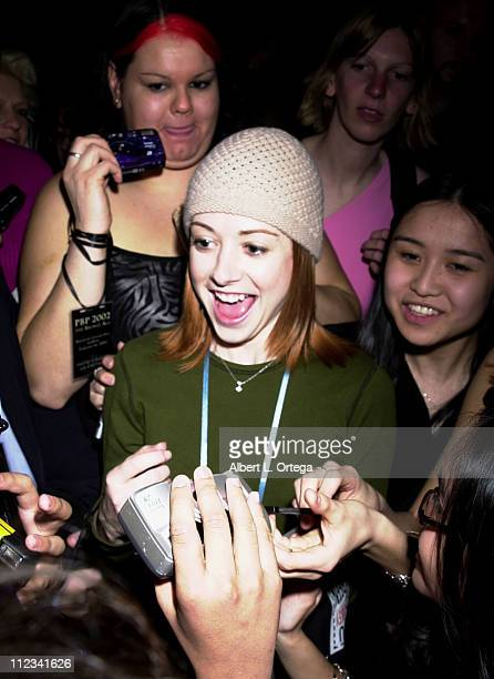 Alyson Hannigan signing autographs for fans during Fifth Annual 'Buffy the Vampire Slayer' Posting Board Party at American Legion Hall in Hollywood...