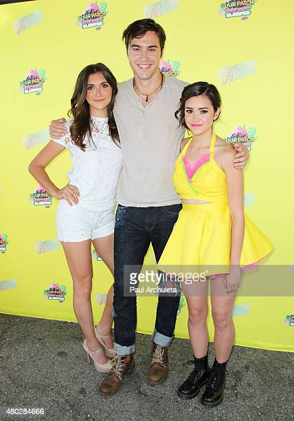 Alyson Stoner Ryan McCartan and Megan Nicole attends the event to celebrate 7Eleven Slurpee Day at 7Eleven on July 10 2015 in Burbank California