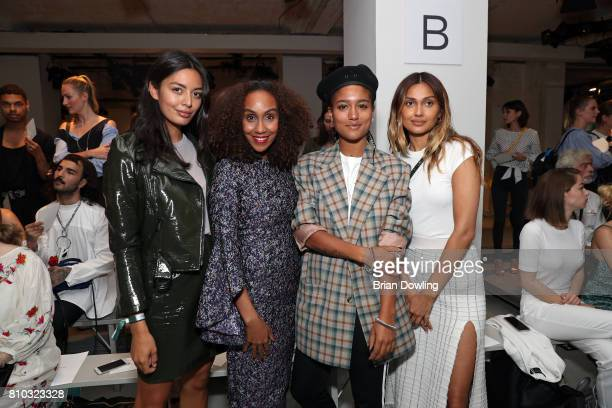 Alyssa Cordes Hadnet Tesfai Lary Poppins and Wana Limar attend the Prabal Gulung Design show during the MercedesBenz Fashion Week Berlin...