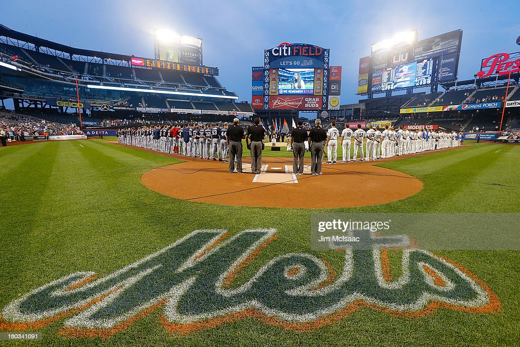 Alyssa Curcio, representing Tuesday's Children, performs the National Anthem prior to a game between the New York Mets and the Washington Nationals at Citi Field on September 11, 2013 in the Flushing neighborhood of the Queens borough of New York City.