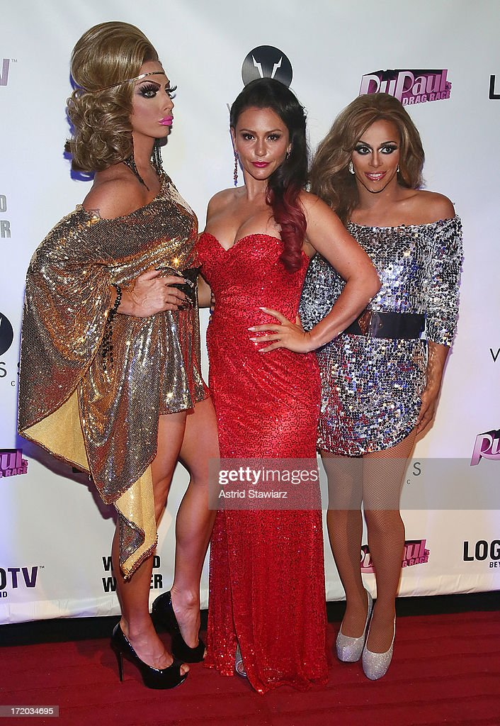 Alyssa Edwards, TV personality Jenni 'Jwoww' Farley and Shangela attend Logo TV's Official Pride NYC 2013 Event at Highline Ballroom on June 30, 2013 in New York City.