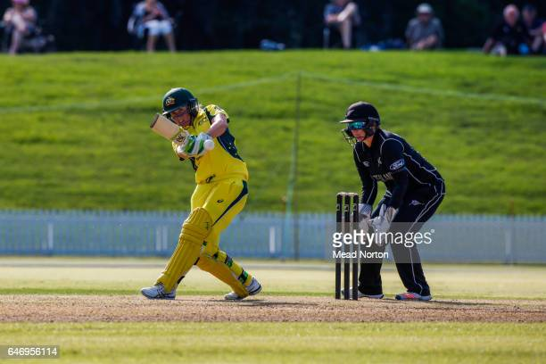 Alyssa Heally batting during the Women's One Day International match between the New Zealand White Ferns and the Australia Southern Stars on March 2...