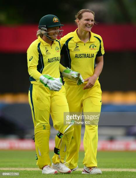Alyssa Healy and Sarah Aley of Australia celebrate the wicket of Asmavia Iqbal Khokhar of Pakistan during the ICC Women's World Cup Warm Up Match...
