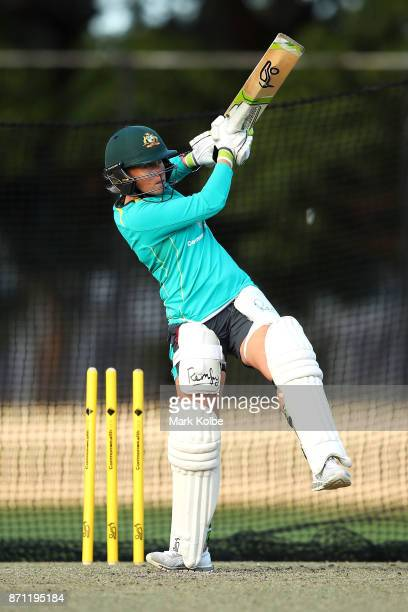 Alyssa Healy bats during an Australian women's Ashes series training session at North Sydney Oval on November 7 2017 in Sydney Australia