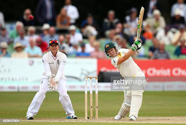Alyssa Healy of Australia bats during day one of the Kia Women's Test of the Women's Ashes Series between England and Australia Women at The Spitfire...