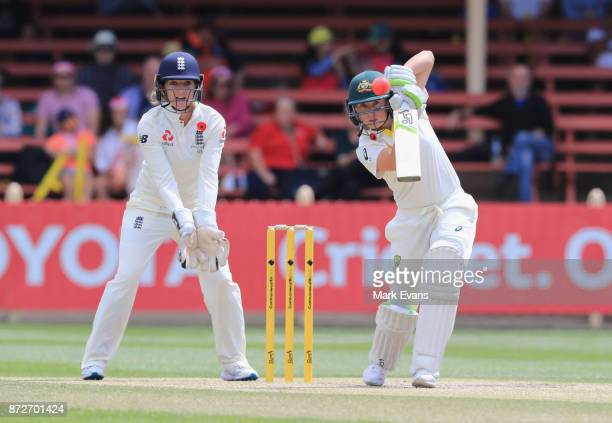 Alyssa Healy of Australia bats during day three of the Women's Test match between Australia and England at North Sydney Oval on November 11 2017 in...