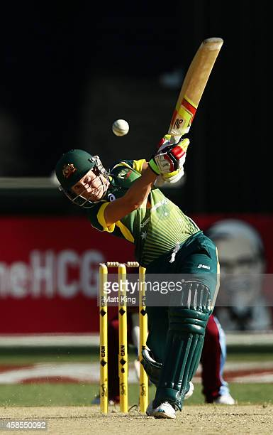 Alyssa Healy of Australia bats during game three of the International Women's Twenty20 match between Australia and the West Indies at Melbourne...