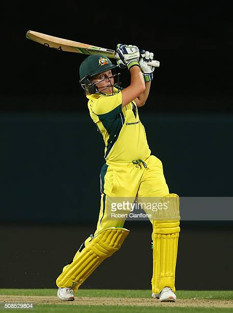 Alyssa Healy of Australia bats during game two of the women's one day international series between Australia and India at Blundstone Arena on...