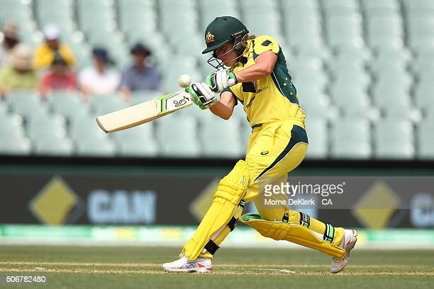 Alyssa Healy of Australia bats during the women's Twenty20 International match between Australia and India at Adelaide Oval on January 26 2016 in...