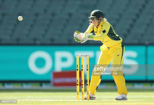 MELBOURNE AUSTRALIA FEBRUARY Alyssa Healy of Australia catches the ball during the first Women's International Twenty20 match between Australia and...