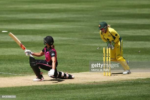 Alyssa Healy of Australia celebrates after stumping Suzie Bates of New Zealand during the Women's Twenty20 International match between the Australia...
