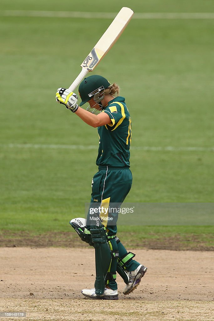 Alyssa Healy of Australia celebrates scoring her half century during game three of the One Day International series between the Australian Southern Stars and New Zealand at North Sydney Oval on December 17, 2012 in Sydney, Australia.