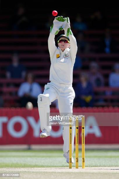 Alyssa Healy of Australia fields during day four of the Women's Test match between Australia and England at North Sydney Oval on November 12 2017 in...