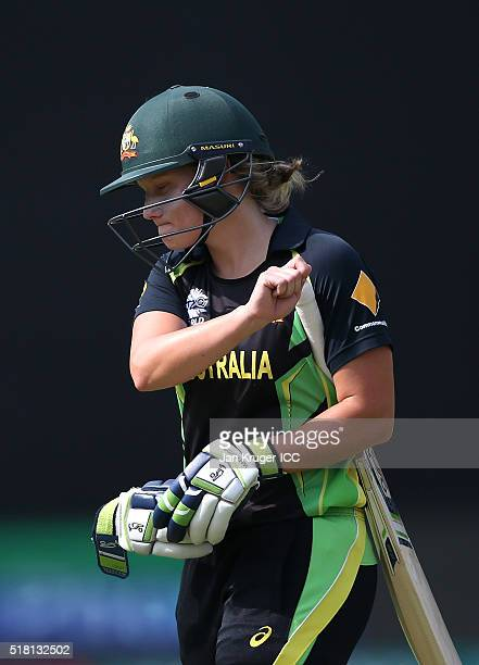 Alyssa Healy of Australia looks on after her dismissal during the Women's ICC World Twenty20 India 2016 Semi Final match between England and...
